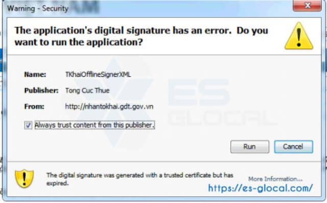 lỗi failed to validate certificate the application will not be executed